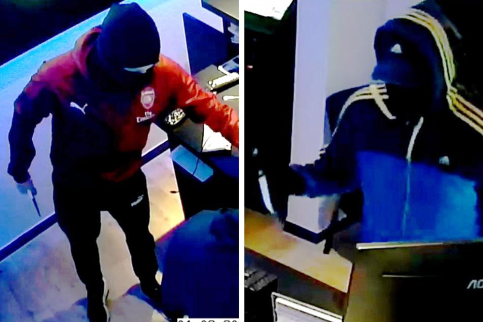 Überfall auf Wettbüro: Polizei sucht diese maskierten Messer-Männer