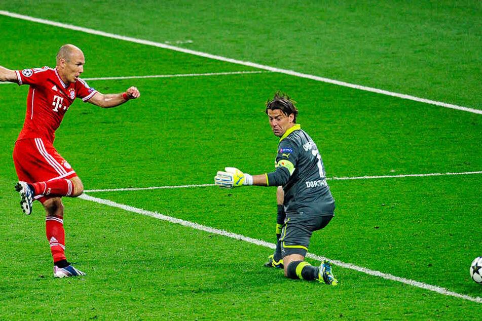 Das wichtigste Tor in Arjen Robbens (l.) Karriere: Im Champions-League-Finale am 25. Mai 2013 gegen Borussia Dortmund erzielte er den 2:1-Siegtreffer für den FC Bayern München.