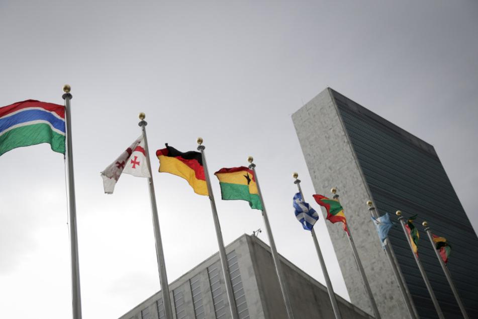 Bundesflaggen wehen vor dem UN-Gebäude in New York.
