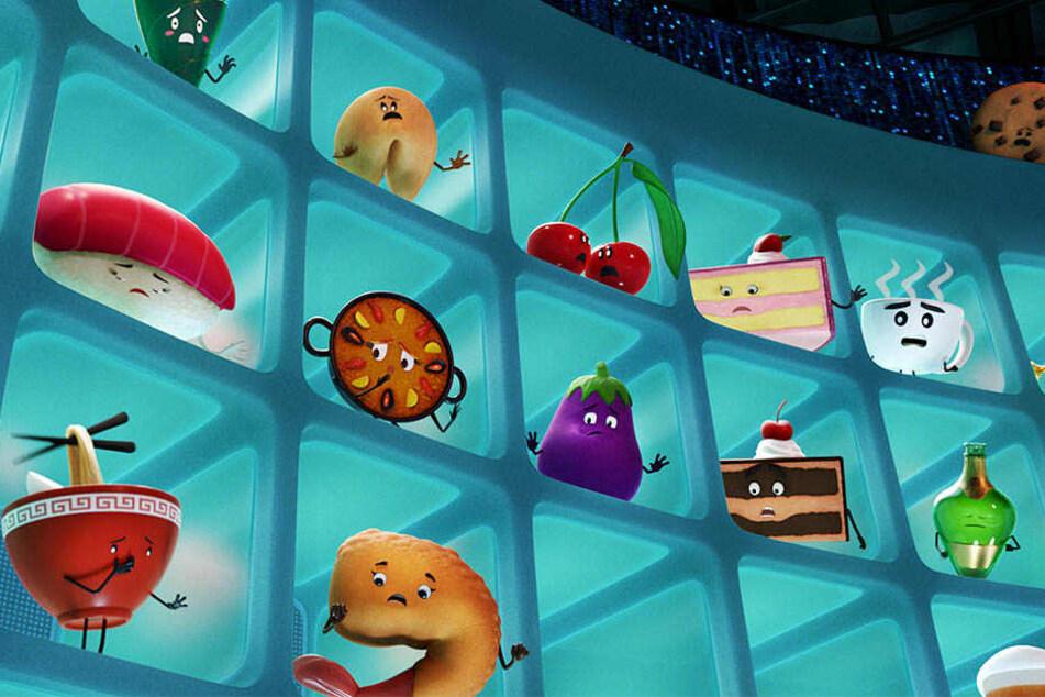 """Die Emojis im Inneren eines Handys, der Stadt Textopolis - eine Szene des Films """"Emoji - Der Film""""."""