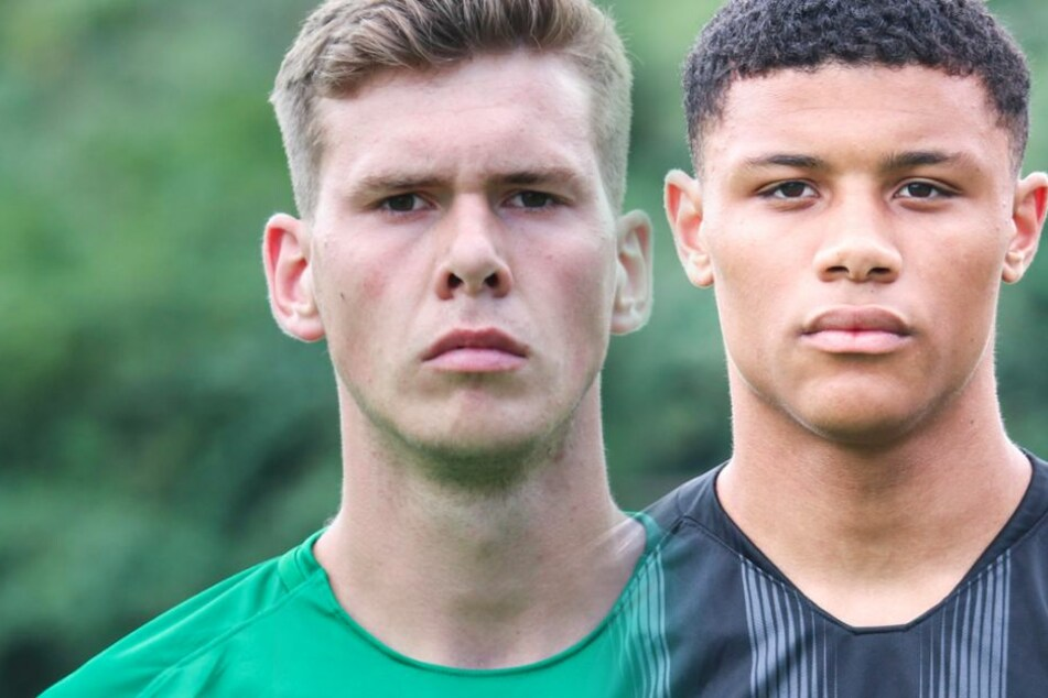 Tobias Stirl (Li.) und Patrice Kabuya erhalten bei der Eintracht Profi-Verträge.