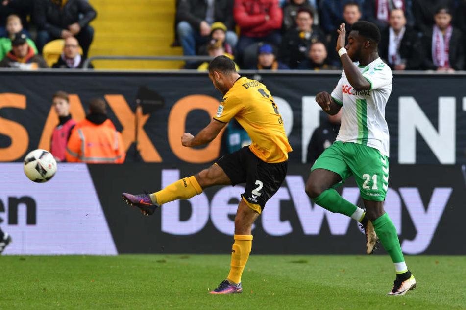 """Hier zieht Akaki """"Andy"""" Gogia zum 1:0 für Dynamo ab."""