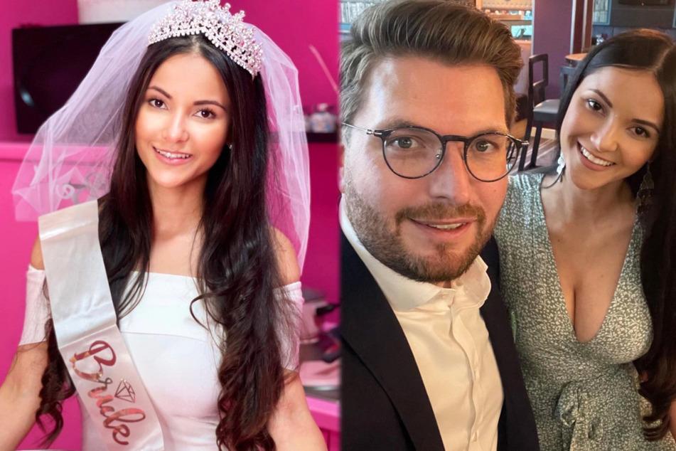 Die Montage zeigt links Kattia Vides (33) bei ihrem Junggesellinnenabschied, rechts lächeln die 33-Jährige und Patrick Weilbach (34) in die Kamera.