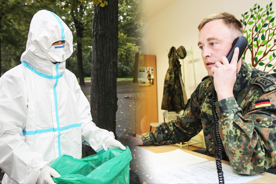Ein Soldaten hält einen Sack, während ein anderer am Telefon die Kontaktpersonen eines Infizierten ermittelt.