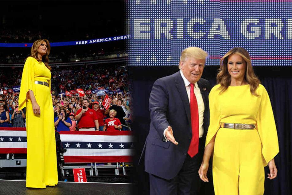 Beim Wahlkampf: Melania Trump zieht mit knallgelbem Jumpsuit alle Blicke auf sich