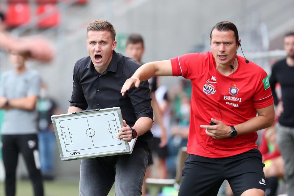FCE-Coach Aleksey Shpilevski (33, l., mit Co-Trainer Marc Hensel, 35) muss dafür sorgen, dass in Kiel eine selbstbewusste Auer Mannschaft auf dem Rasen steht.