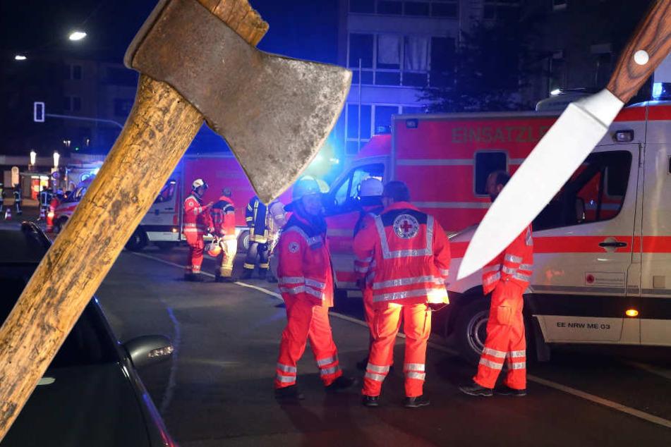 Mann attackiert Familie mit Axt und rammt Vater Messer in den Hals