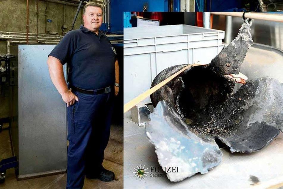 """Sprengmeister Holger Klemig (56) hat das """"Biest von Löbtau"""" schließlich zur Strecke gebracht. Als Chef des Kampfmittelbeseitigungesdienstes ist er nun der """"Besitzer"""" der Dresdner Rekord-Bombe."""