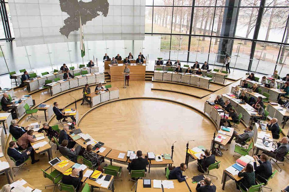 Der Plenarsaal im Landtag: Der Kampf um die Kandidaturen für die Wahl 2019 hat begonnen. Die CDU-Fraktion (im Bild links unten) hat schon jetzt kaum Frauen.