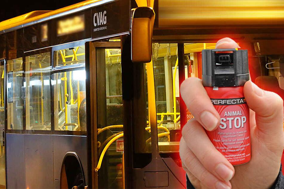 Unbekannte attackierten in einem Chemnitzer Linienbus mehrere Fahrgäste.