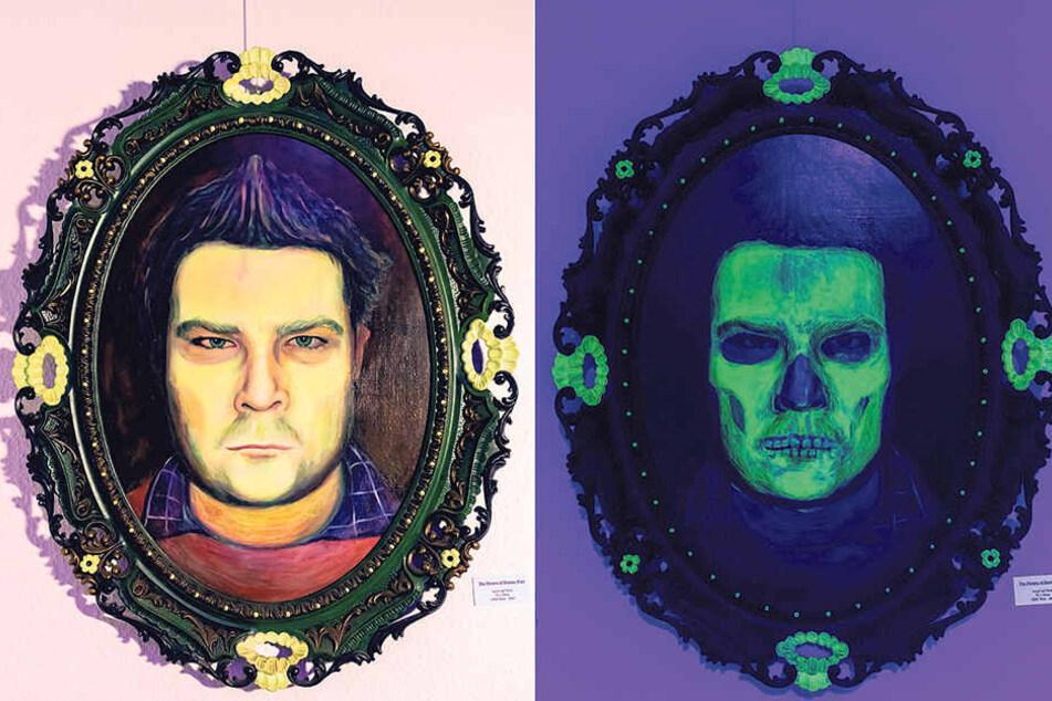 Das Selbstportrait des Künstlers wandelt sich unter Schwarzlicht in (s)ein Skelett.