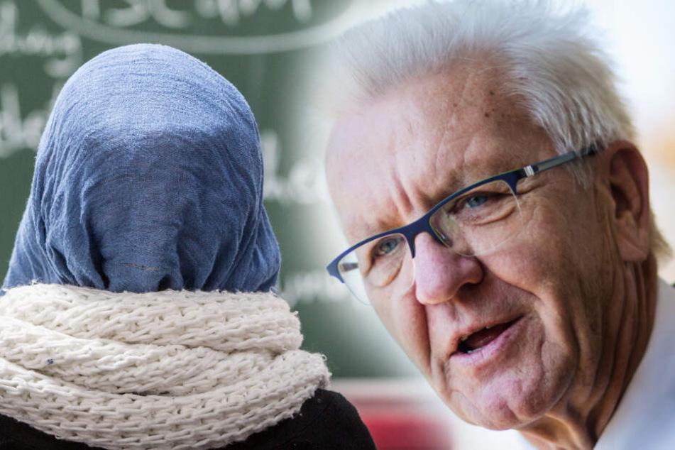 Ministerpräsident von Baden-Württemberg Winfried Kretschmann hält das Kopftuchverbot für nicht durchsetzbar. (Fotomontage)