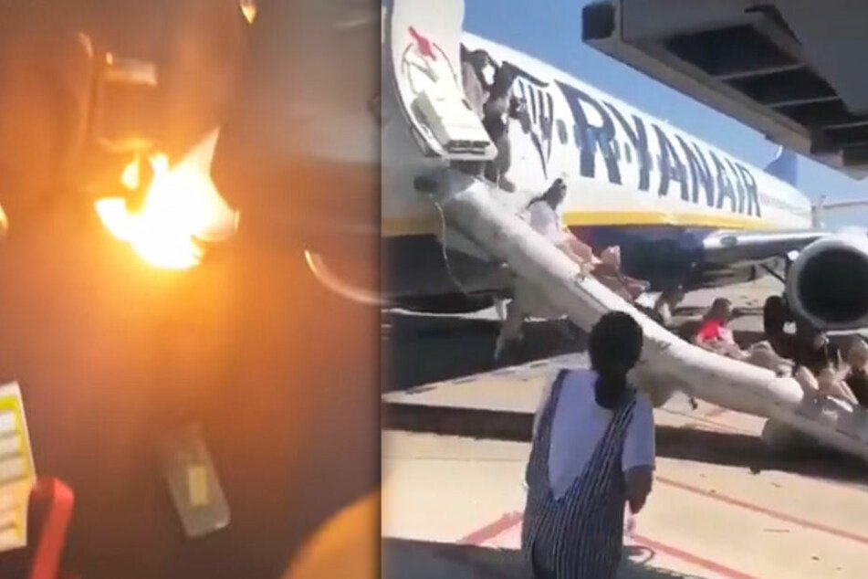Die Fluggäste retteten sich über die Notrutsche.
