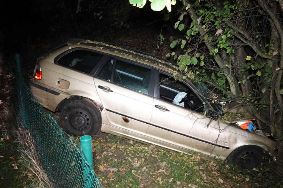 Erst an einem Baum kam der BMW zum Stehen. Der Fahrer verletzte sich schwer.