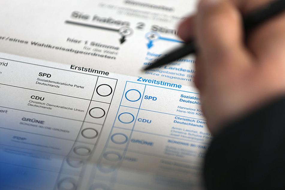 Links die Erststimme für den Kandidaten aus dem Wahlkreis, rechts für die Partei. (Symbolfoto)