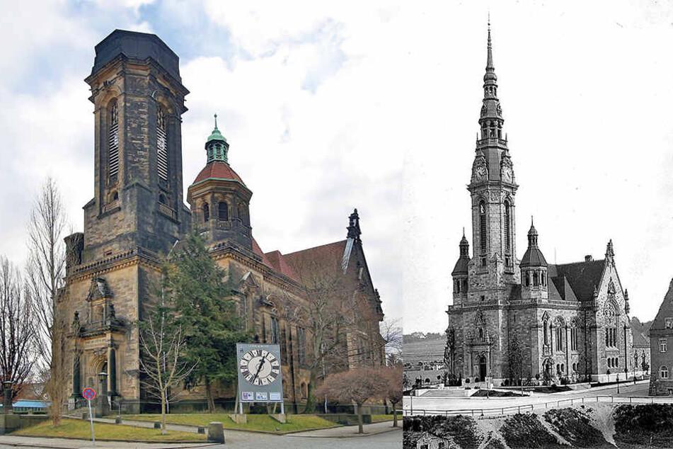 So sieht die Lukaskirche heute aus. Der Turm fiel der Bombennacht im Februar 1945 zum Opfer. Historische Aufnahme (re.).