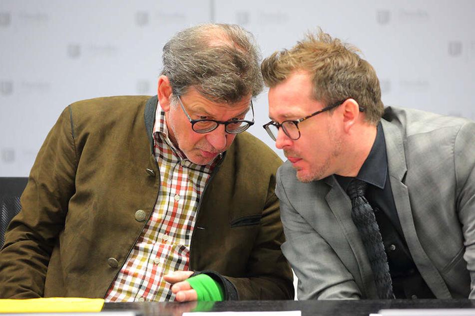 Noch ein Team: Straßen- und Tiefbauamts-Chef Reinhard Koettnitz (63, l.) und Baubürgermeister Raoul Schmidt-Lamontain (42, Grüne).