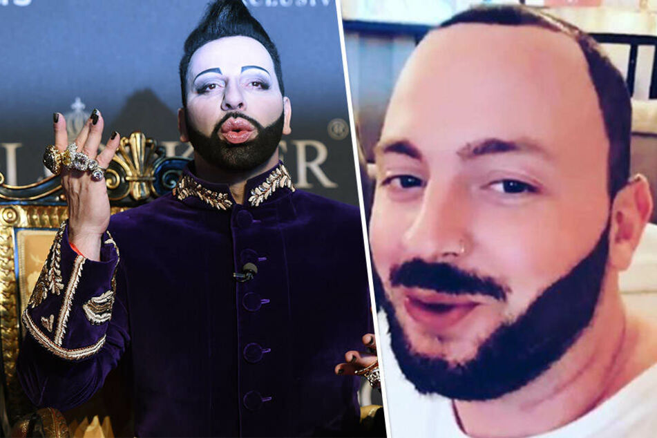 Könnten auch Zwillinge sein: Energy-Moderator Julian (31, r.) macht mit seinem Look Modesdesigner Harald Glööckler (52, l.) Konkurrenz.