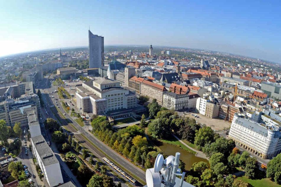 Blick auf das Stadtzentrum von Leipzig. Trotz Minus steht die Stadt im Vergleich zum EU-Durchschnitt noch gut da.