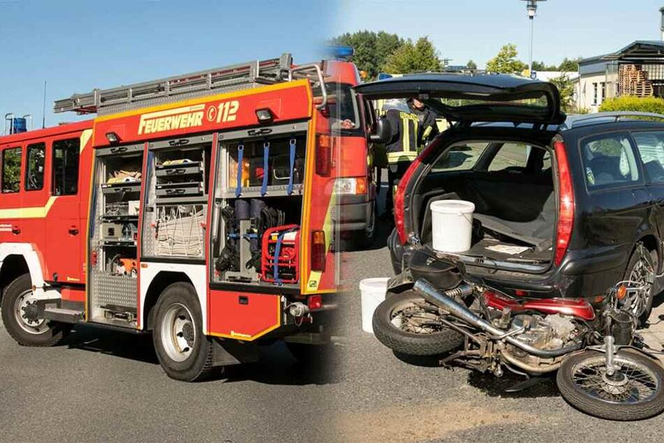 Biker kracht mit voller Wucht in Citroën: Schwer verletzt