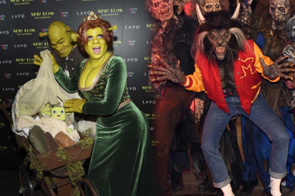 """Hättest Du sie wiedererkannt? Links: Heidi als Fiona und Tom als Shrek zu Heidis Halloween-Party 2018. Rechts: Heidi als """"WereCat"""" zu Halloween 2017."""