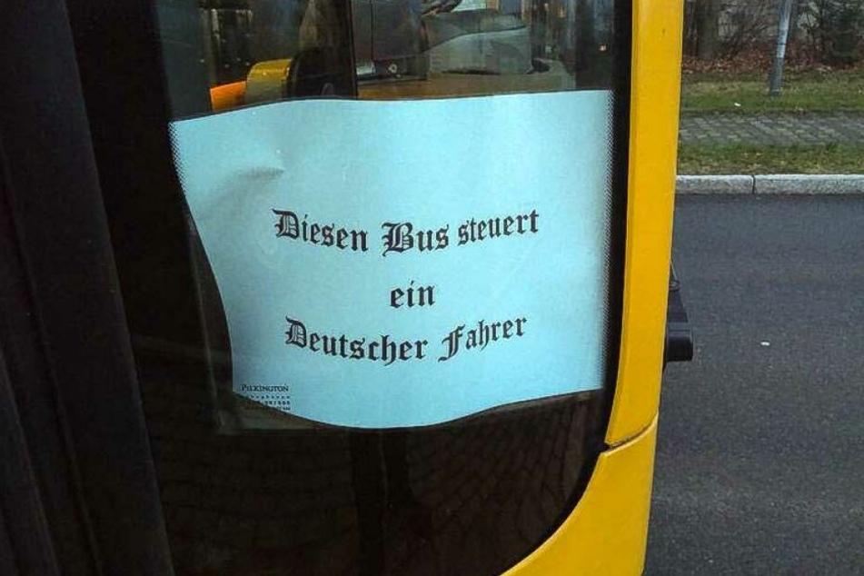 Dieser Zettel befand sich vor wenigen Tagen in zwei Bussen der Dresdner Verkehrsbetriebe.