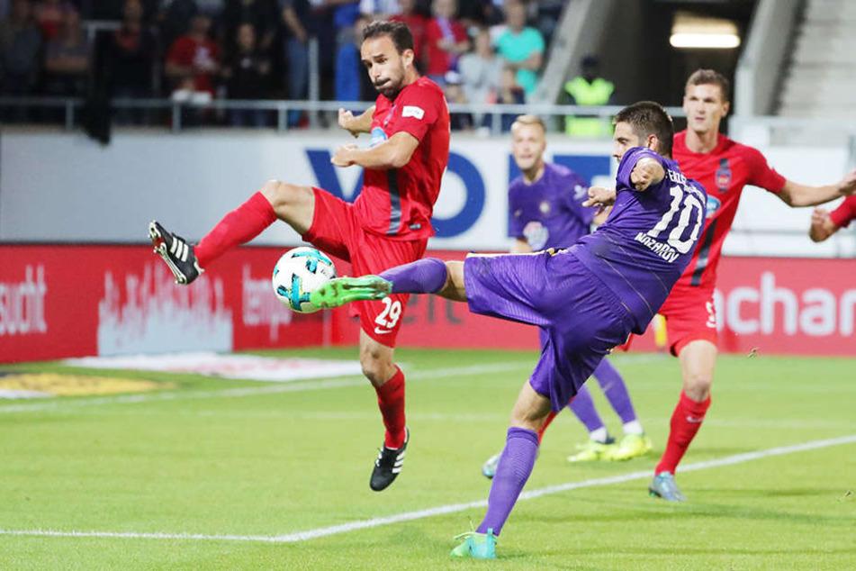 Die Großchance für Dimitrij Nazarov in der 2. Hälfte: Er zieht sechs Meter vor dem Tor vor Robert Strauß ab, trifft den Ball aber nicht voll.