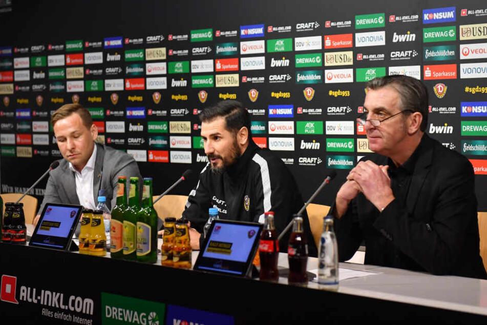 Pressesprecher Henry Buschmann, Cristian Fiel und Ralf Minge (v.l.) auf der Pressekonferenz am Donnerstag.