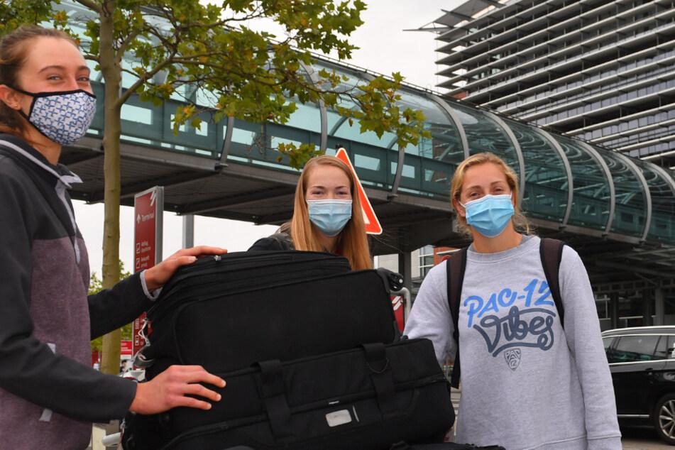 Madeleine Gates, Jenna Gray und Morgan Hentz landeten vor einer Woche in Dresden. Die Corona-Test sind negativ, somit können sie nur ins Training starten.