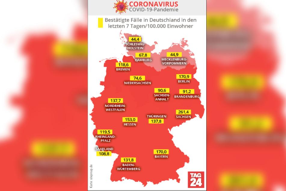 In der Karte sind die bestätigten Corona-Fälle in Deutschland zu sehen.