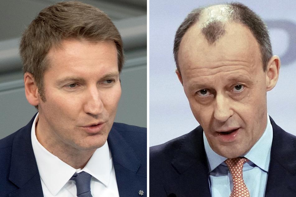 Patrick Sensburg (49, l) und Friedrich Merz (65) sind für die CDU im Hochsauerlandkreis als Bundestagskandidaten angetreten - Merz gewann mit klarem Vorsprung.