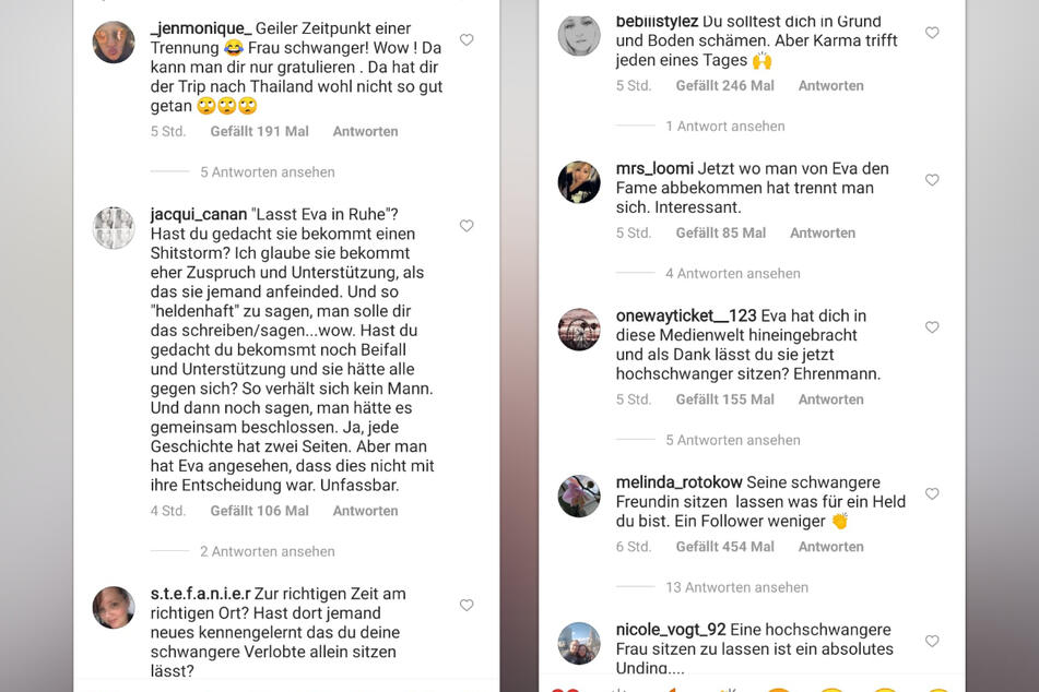 Unser schießen in den Instagram-Kommentaren gegen Chris Stenz (31). (Fotomontage)