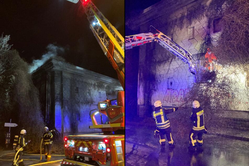Efeuranken an der Fassade eines Hochbunkers in Hattingen haben Feuer gefangen. (Fotomontage)