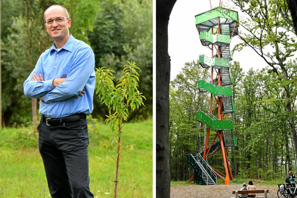 Der Rodigtturm von Nossen wurde erst vor fünf Monaten eröffnet - nun muss baulich dringend nachgebessert werden (r). Bürgermeister Uwe Anke (49, parteilos) macht für die Bauarbeiten rund 30.000 Euro locker.