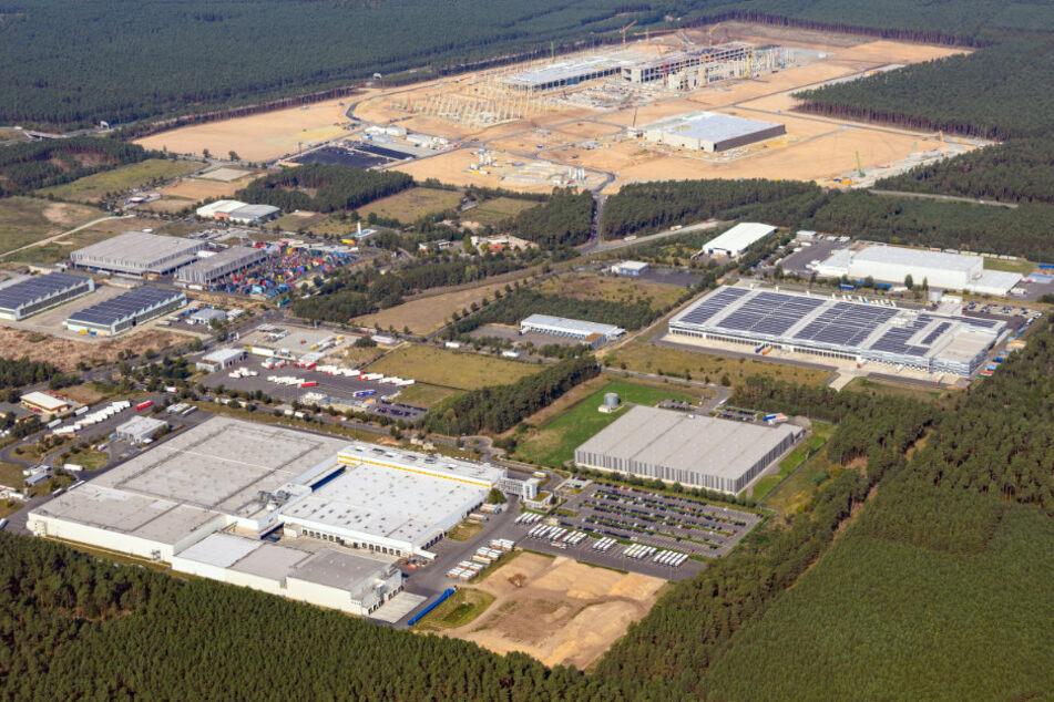 Luftaufnahme der künftigen Gigafactory Berlin-Brandenburg.