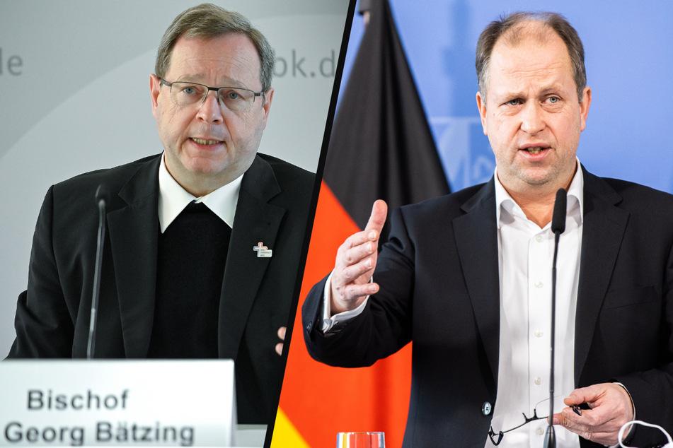 NRW-Familienminister Joachim Stamp (50, FDP) und der Bischof Georg Bätzing (59) haben Kardinal Rainer Maria Woelki (64) kritisiert. (Fotomontage)