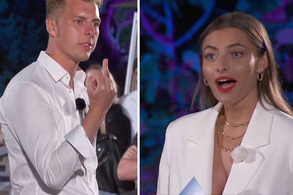 Alex (24) zeigt Sophia Thomalla (31) den Stinkefinger. Die Moderatorin kann es nicht fassen. (Fotomontage)