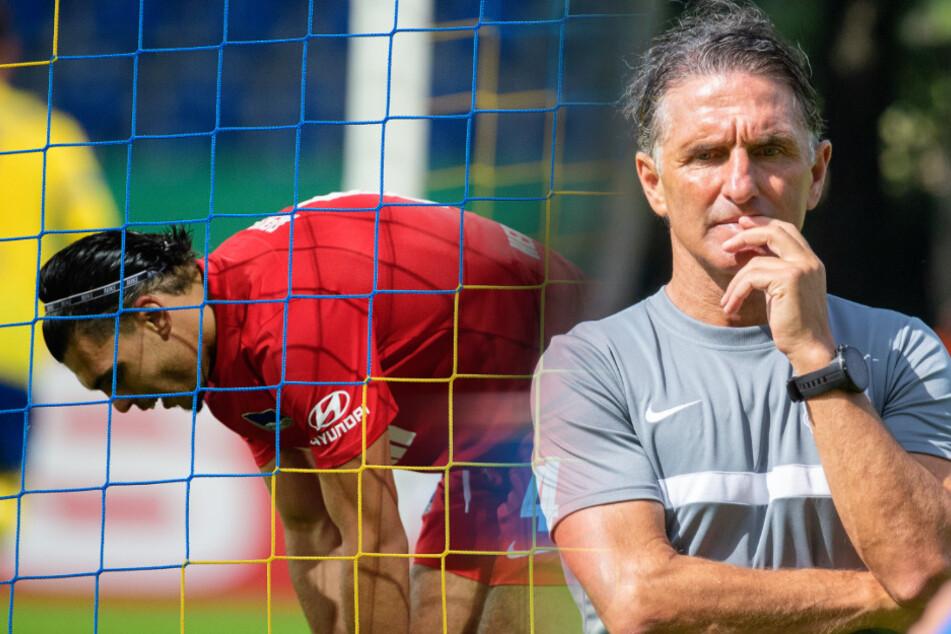 Bruno Labbadia (r) muss vor dem Saisonstart viele Probleme beheben. Karim Rekik (l) erwischte in Braunschweig einen schwachen Tag.