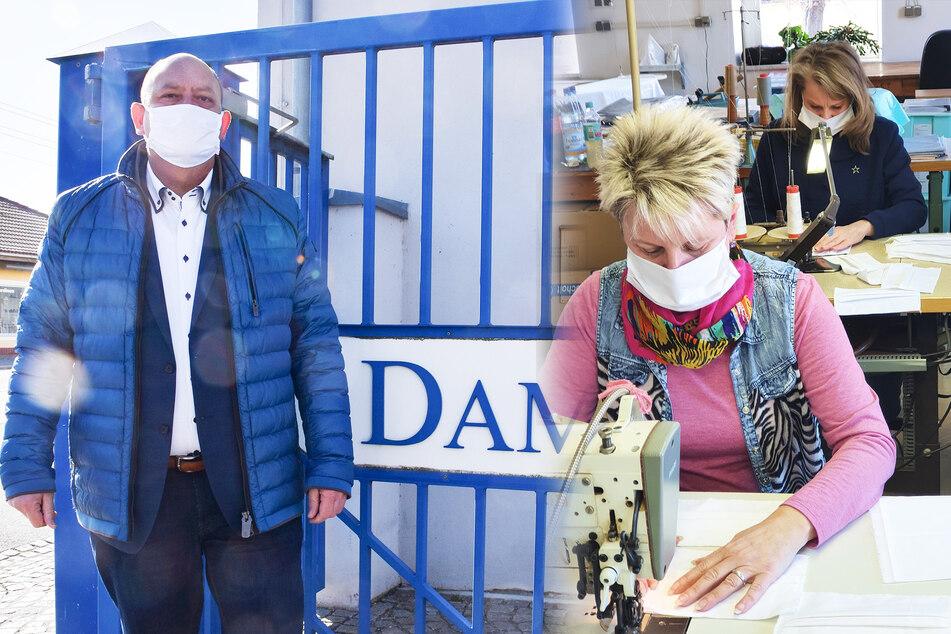 Im Großschönauer Textilbetrieb Damino werden seit drei Wochen waschbare Atemschutzmasken hergestellt. Eigentlich wird in der Firma von Dirk Ladenberger (l.) Bett- und Tischwäsche genäht.
