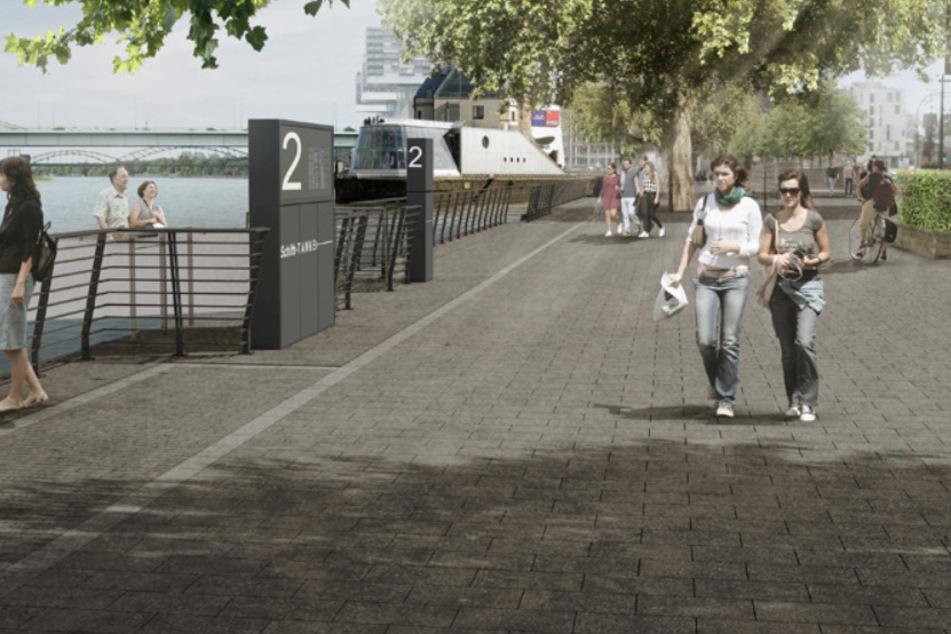 Die Rheinuferpromenade erhält neue Basaltplatten und neue Geländer.