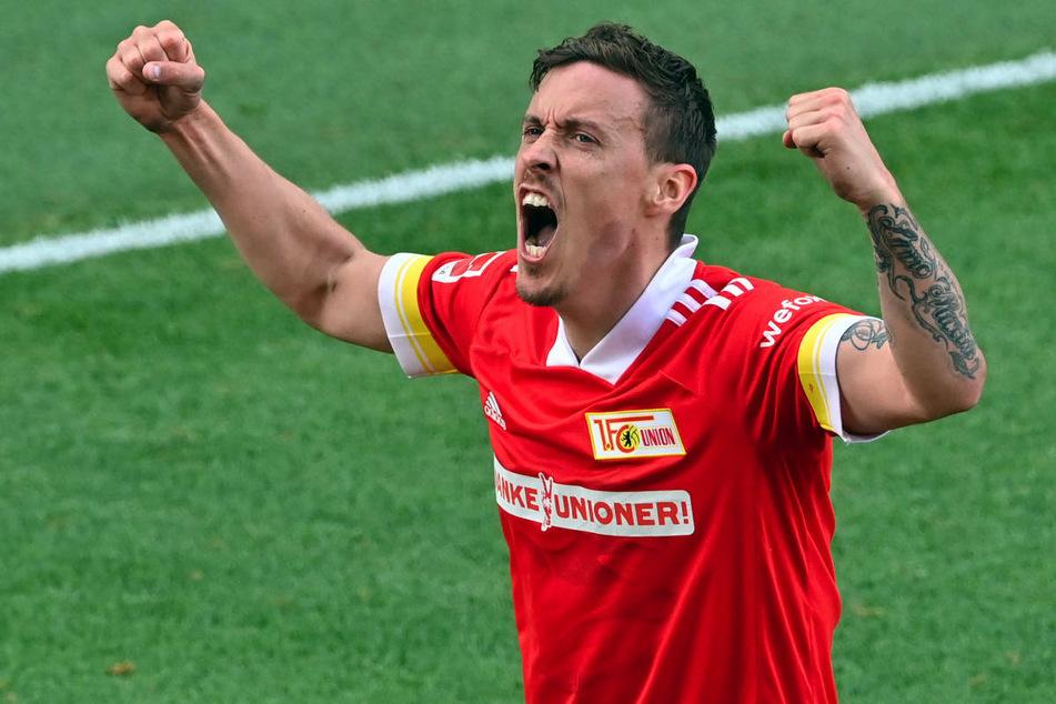 Max Kruse bejubelt seinen 2:1-Siegtreffer gegen RB Leipzig, der Union Berlin die Qualifikation für die UEFA Conference League ermöglicht hat.