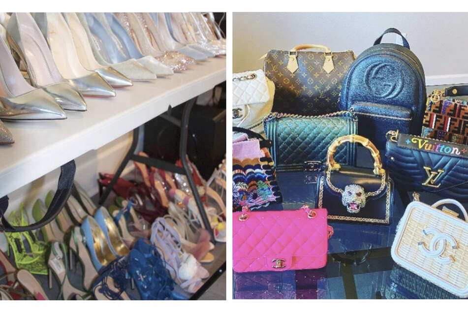 The Kardashians shared photos on Instagram of the shoes and bags they were selling on Kardashian Kloset (collage).