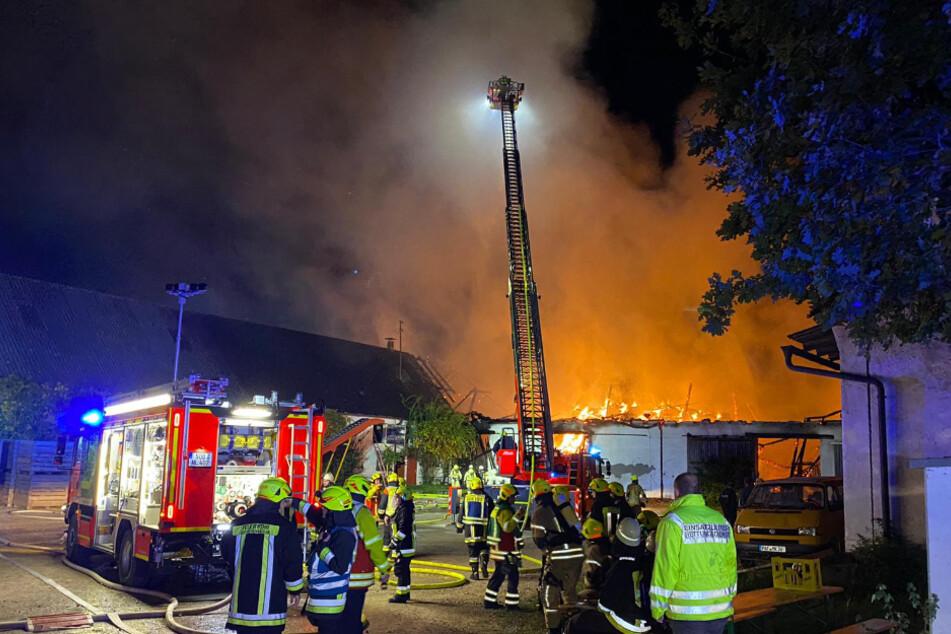 Brand auf Rinderhof in Bayern: Feuerwehr kämpft über Stunden gegen Flammen