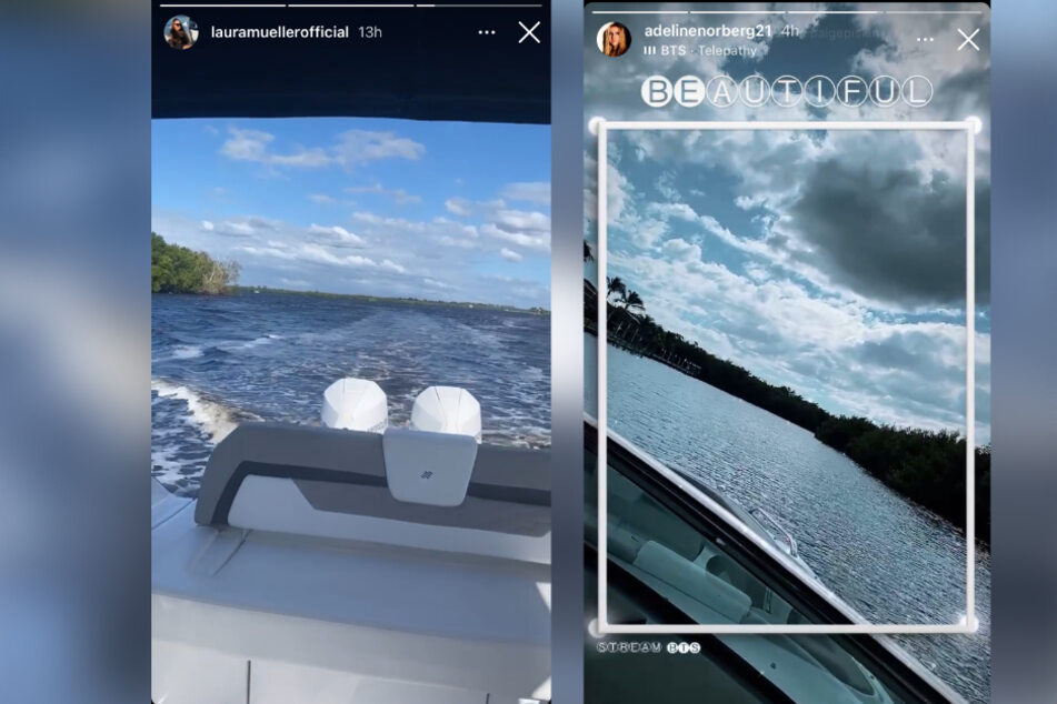 Sowohl Laura als auch Adeline posteten am Freitag einen Boots-Ausflug.