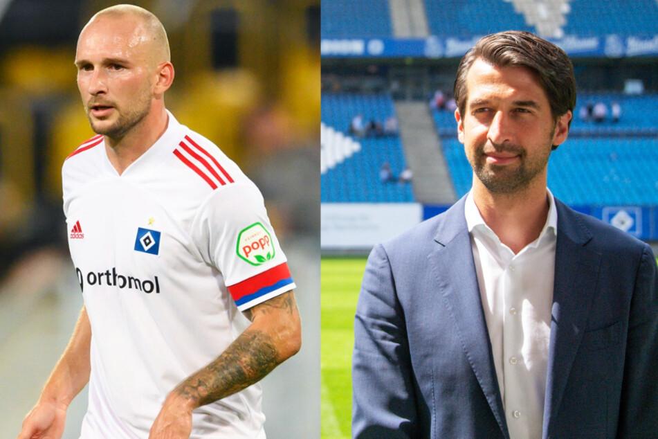 HSV-Profi Toni Leistner (l.) sorgt mit einem Fan-Angriff für Aufsehen und Sportvorstand Jonas Boldt verlängert seinen Vertrag.