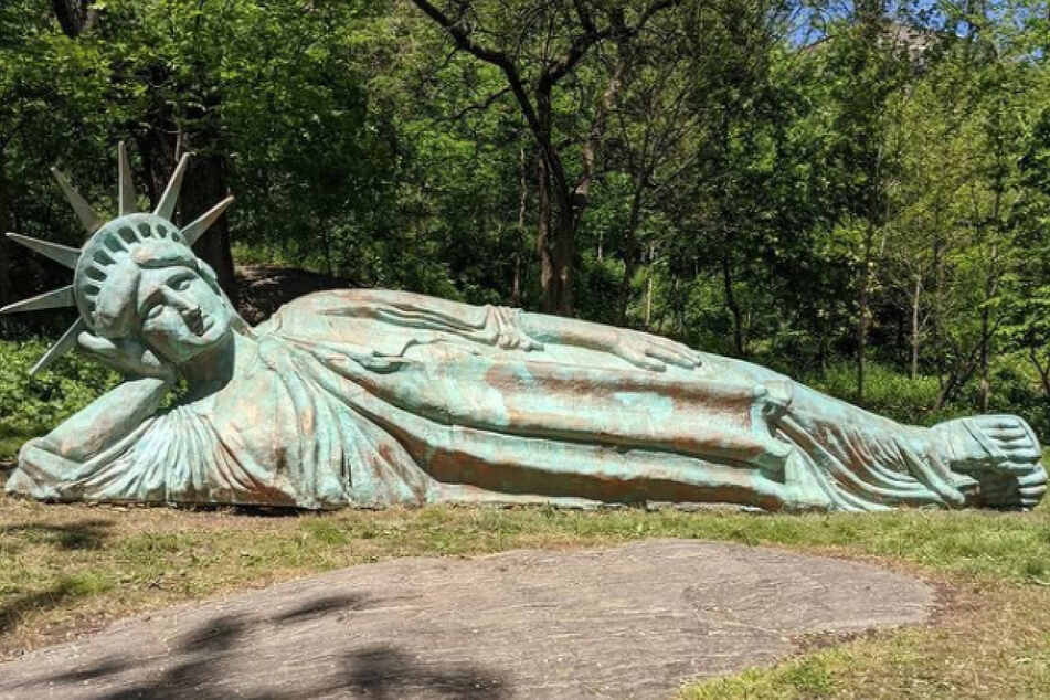 The relaxing statue is currently on display in Harlem's Morningside Park.