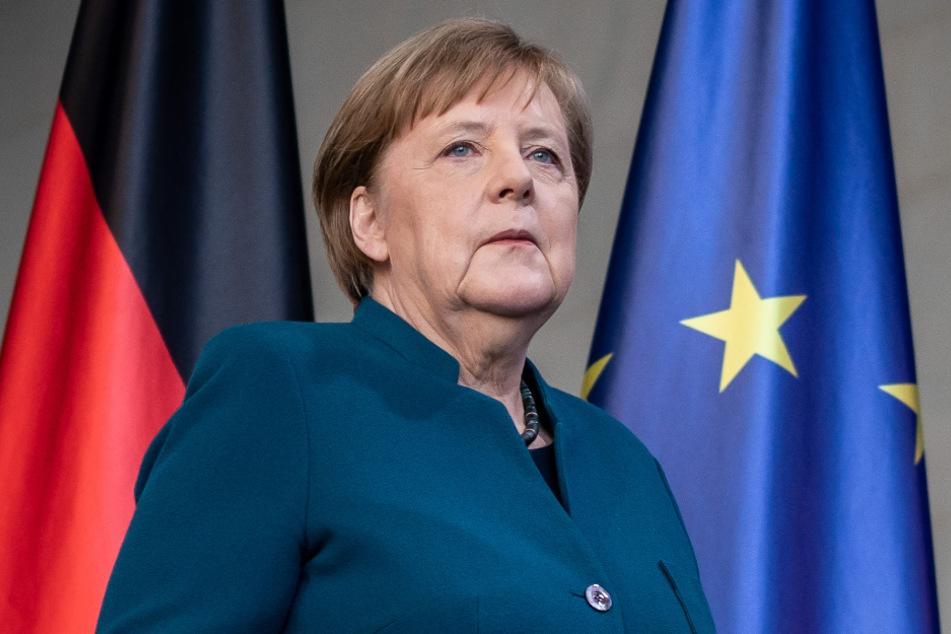 Angela Merkel (65, CDU) kurz bevor sie in häusliche Quarantäne musste.