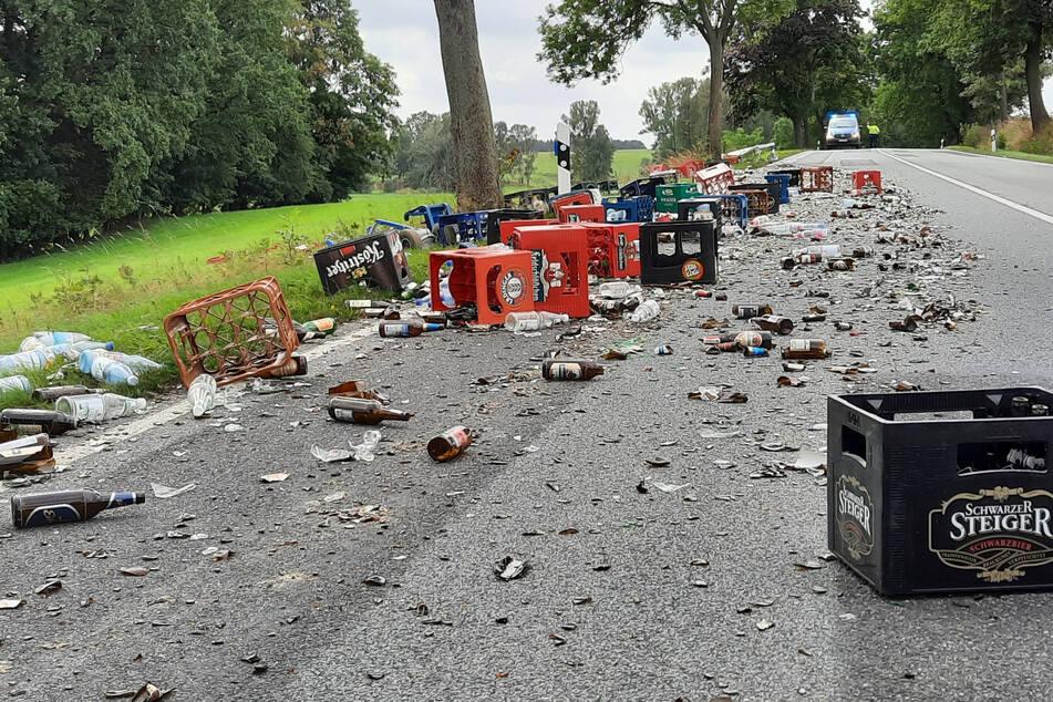 Glück im Unglück: Die Bierflaschen waren leer.