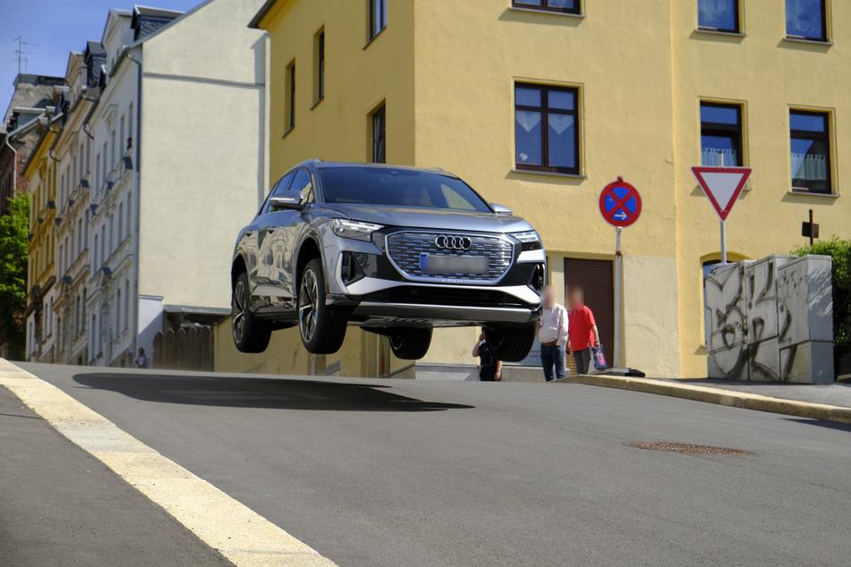Bei der Testfahrt in Reichenbach/Vogtland hoben die neuen E-Audis ab.