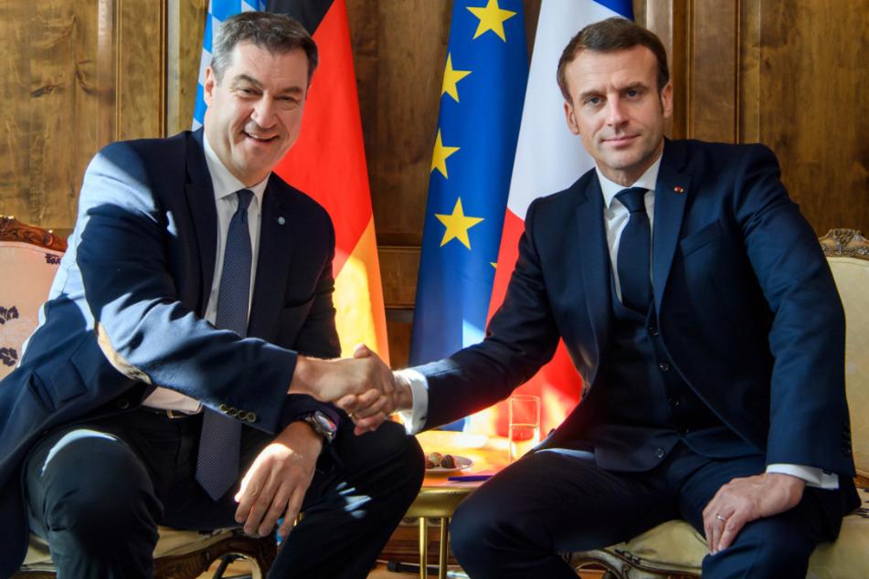 Markus Söder und Emmanuel Macron bei der 56. Münchner Sicherheitskonferenz.